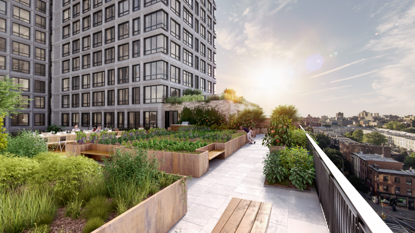 A view of the building's rooftop terrace.  Photo 4 of 8 in 3 New York City Residential Projects That Feature DIY Urban Gardens