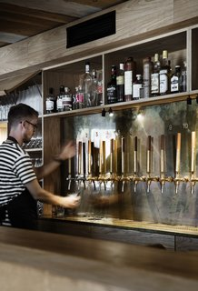 The bar serves up a wide range of wine, beer, spirits, and aquavits.