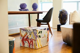 The eclectic mix of works on view range from stools and sculptural forms to chairs and tables in various shapes.