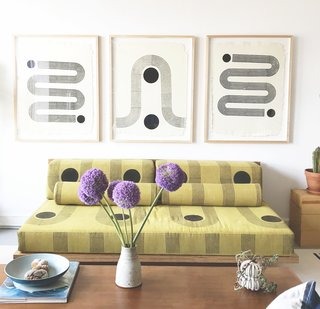 """The Block Shop Sisters Launch Their Framed Woodblock Prints at Rachel Comey's L.A. Boutique - Photo 1 of 8 - """"Sunwave"""" (center) is an homage to the Art Deco architecture of downtown Los Angeles, while """"Sidewinder"""" (on the ends) is inspired by a snake's undulating tracks in the desert sand."""