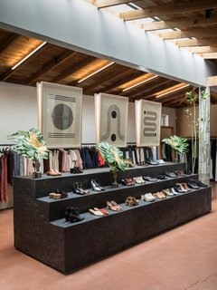Block Shop's woodblock prints seamlessly integrate into the earthiness of Rachel Comey's Los Angeles boutique.