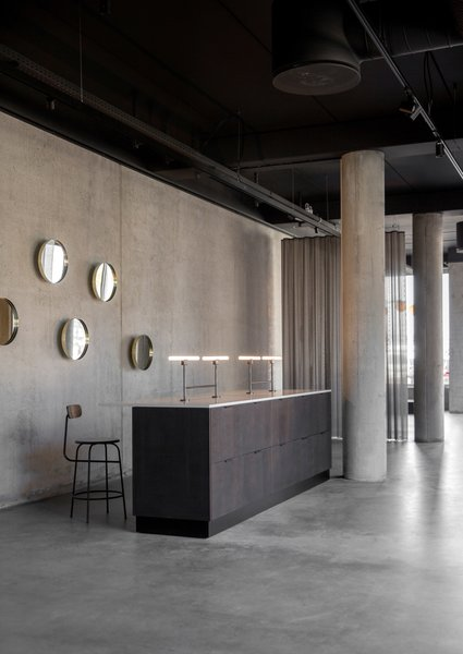 Also suitable for commercial use, the Norm Architects counter was used in Menu's recently opened 7,500-square-foot showroom, which is located in the up-and-coming Copenhagen neighborhood that surrounds the harbor in Nordhavn.
