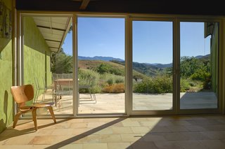 The patio looks out on Ojai's famous Topatopa Mountain Range.