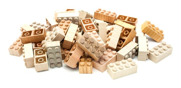 Mokulock blocks are carved from solid pieces of wood and are void of surface-finishing oil, chemicals, paint, or glue.