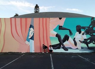 Local and international artists create lasting works that are accessible to the public. This mural by Molly Bounds and Alex Gardner is located at Disjecta in north Portland.
