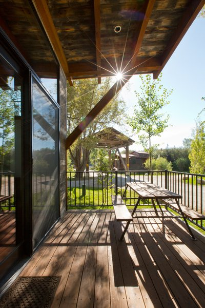 The outdoor deck on the Caboose cabins