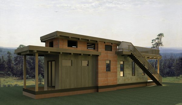A rendering of the Flat Roof Caboose cottage was customized for Wildwood by Wheelhaus.