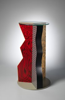 """Ivory"" Table, 1985. Formica, Wood, Glass. H. 39-3/4 x Dia. 24 in. b: Glass top; Dia. 19-1/2 x Thickness 1/4 in. The Metropolitan Museum of Art, Gift of Dr. Michael Sze, 2002."