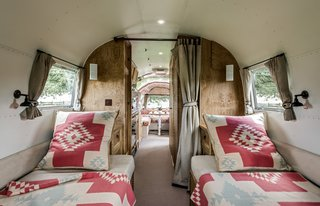 "The design brief for this 1964 Airstream Overlander restored by ARC Airstreams was ""luxury with a country feel."" Ralph Lauren's Corral Canyon fit the bill."