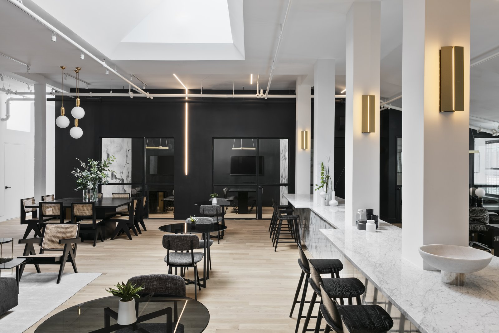 Dining Room, Chair, Stools, Bar, Table, Wall Lighting, Pendant Lighting, and Light Hardwood Floor  Photo 7 of 12 in A Peek Inside a New Beautiful Co-Working Space For Creatives in Brooklyn