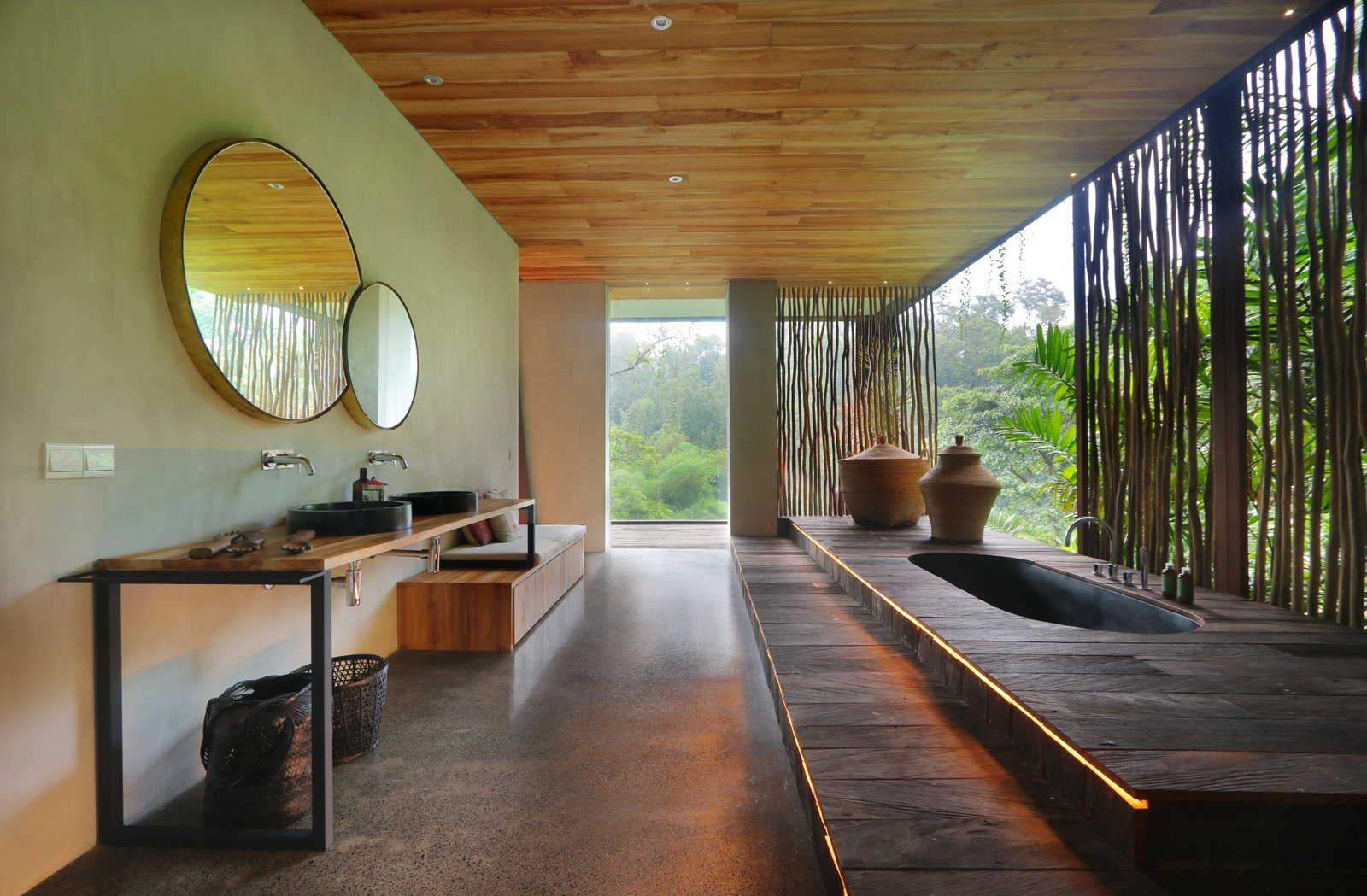 Bath, Drop In, Vessel, Recessed, and Wood  Best Bath Recessed Drop In Photos from An Incredible Vacation Villa in the Balinese Jungle That's Part Chameleon