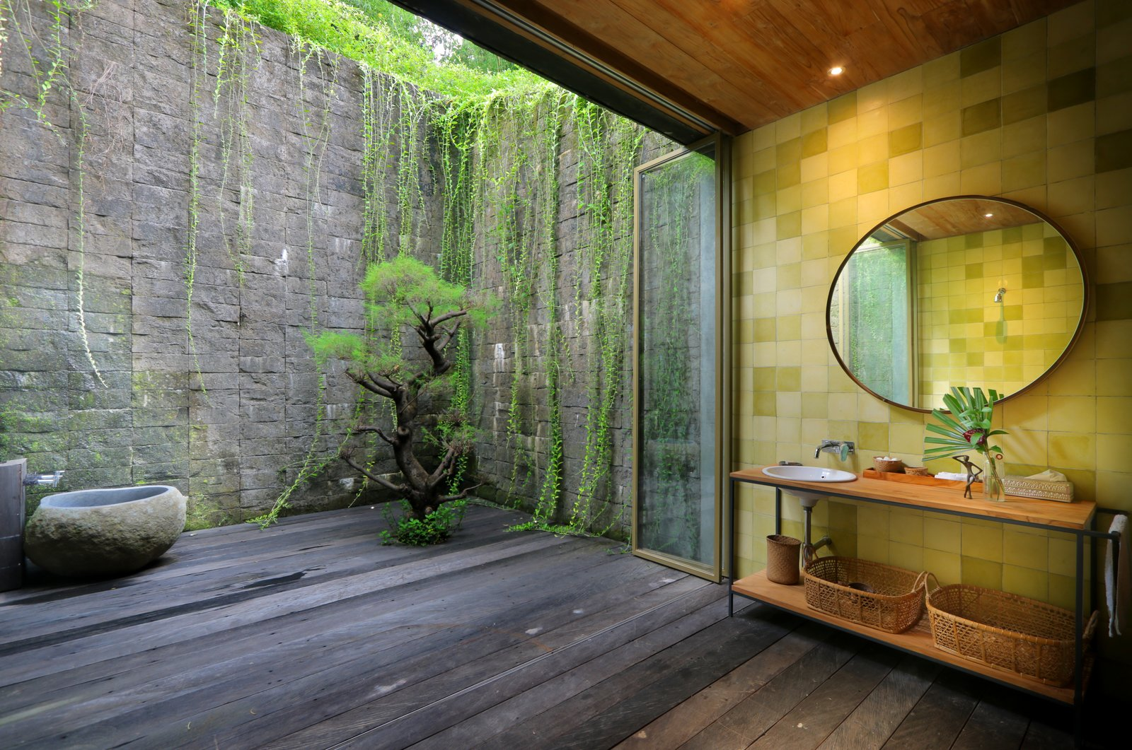 Bath, Recessed, Dark Hardwood, Pedestal, Wood, and Drop In  Best Bath Pedestal Wood Photos from An Incredible Vacation Villa in the Balinese Jungle That's Part Chameleon