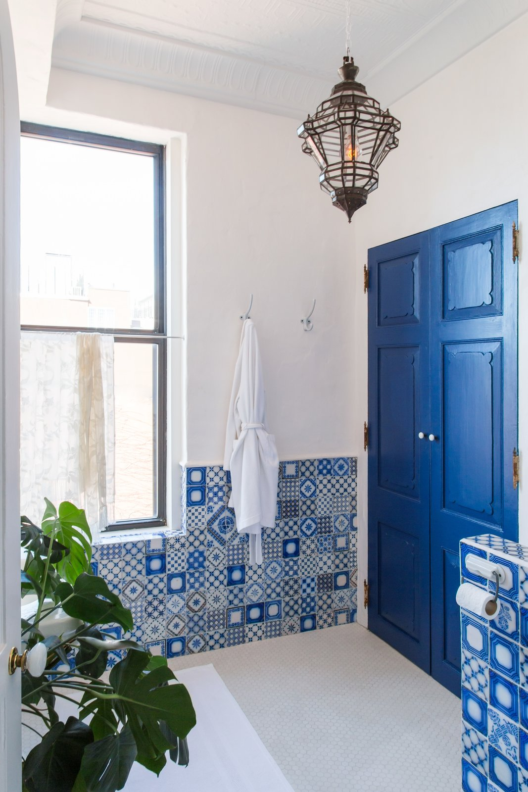 Bath Room, Pendant Lighting, and Ceramic Tile Wall  Photo 13 of 22 in A 19th-Century Schoolhouse in Brooklyn Becomes a Classy Apartment
