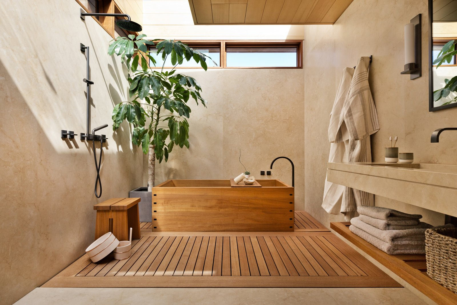 Bath Room, Open Shower, Light Hardwood Floor, Drop In Sink, Wall Lighting, Freestanding Tub, and Soaking Tub  Photo 7 of 13 in A Former Beach Motel in Malibu Is Reborn as the Japanese-Inspired Nobu Ryokan from 8 Spa-Like Bathrooms Designed to Instantly Soothe