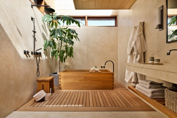 Bath, Open, Light Hardwood, Drop In, Wall, Freestanding, and Soaking  Best Bath Drop In Soaking Photos from 8 Spa-Like Bathrooms Designed to Instantly Soothe