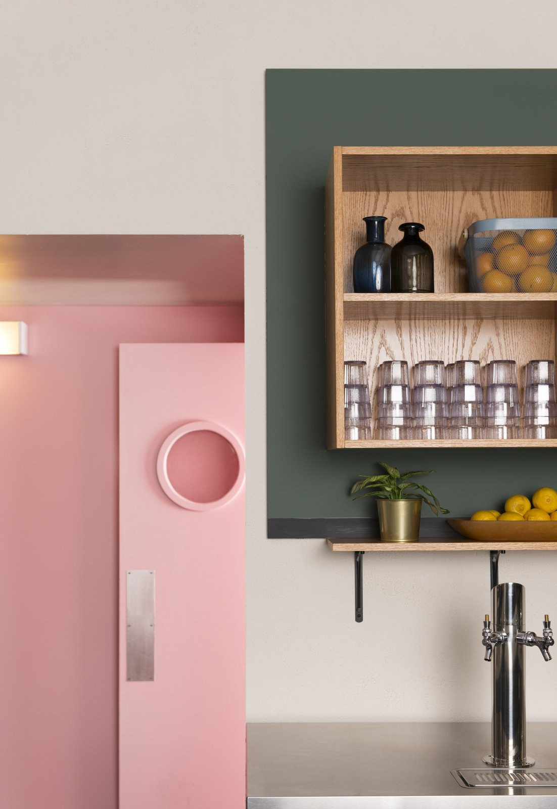 Storage Room and Cabinet Storage Type  Photo 1 of 14 in Fun, Cheeky Interiors Give This Middle Eastern Eatery a Modern Edge