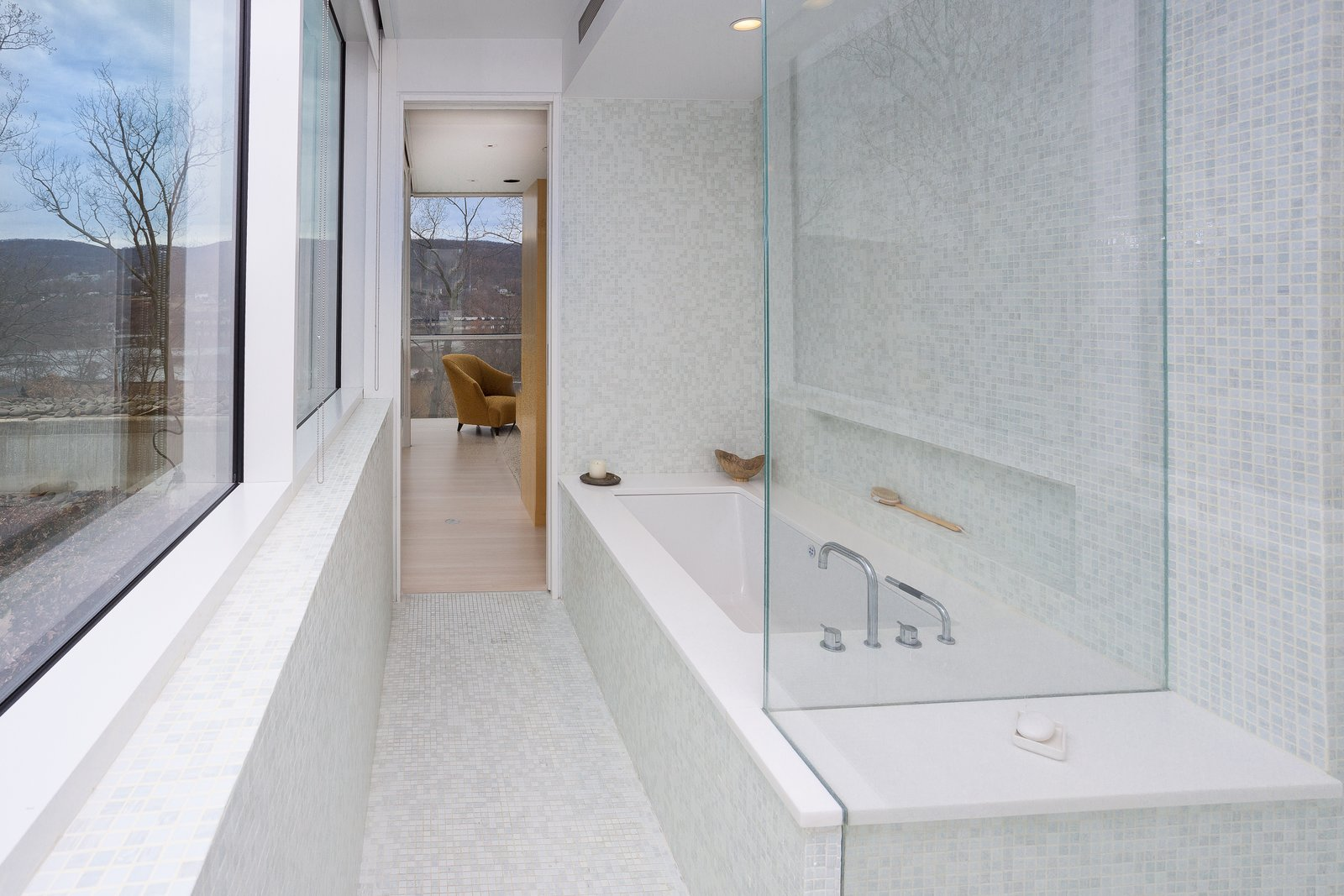 Bath, Recessed, Ceiling, Enclosed, Porcelain Tile, Porcelain Tile, and Undermount  Best Bath Recessed Porcelain Tile Ceiling Photos from A Toshiko Mori-Designed Masterpiece in New York Wants $4.95M