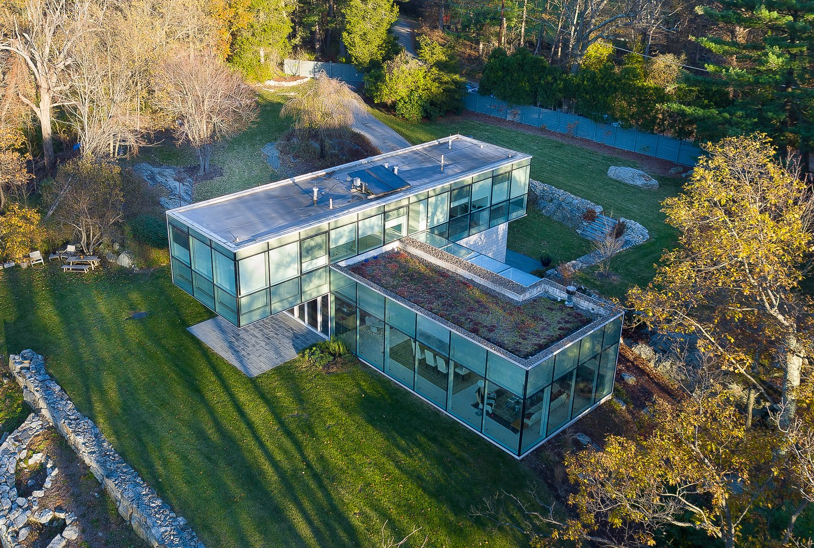 Exterior, House Building Type, Flat RoofLine, and Glass Siding Material  Best Photos from A Toshiko Mori-Designed Masterpiece in New York Wants $4.95M