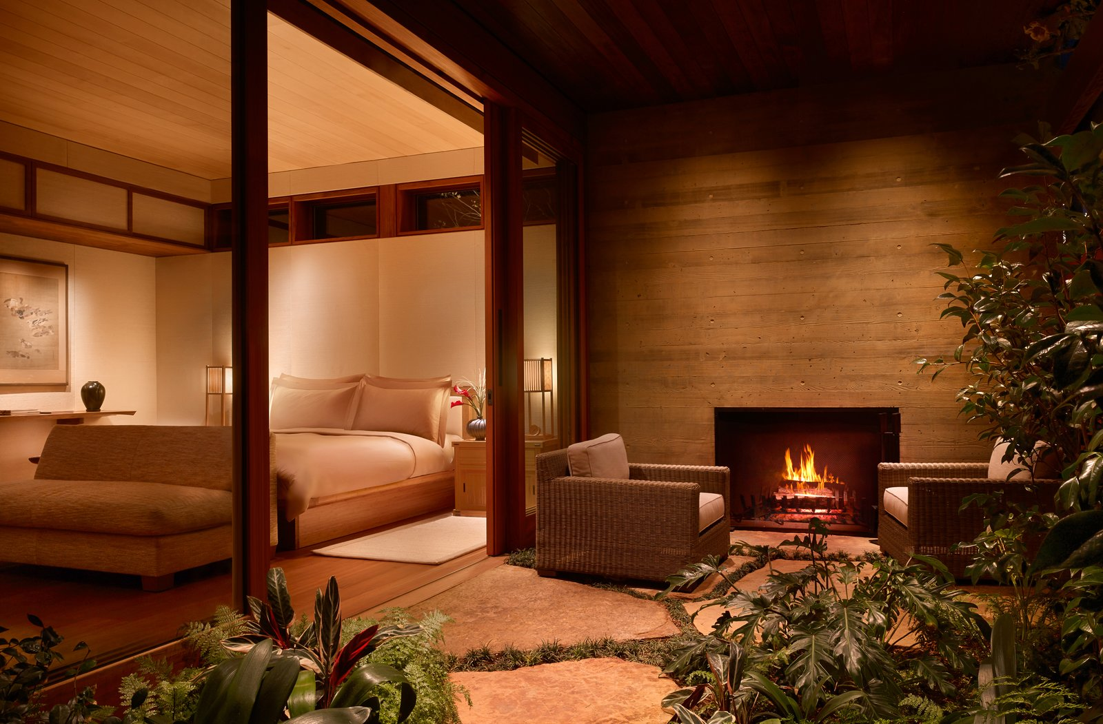 Outdoor, Walkways, Small Patio, Porch, Deck, Grass, Shrubs, and Side Yard  Photo 9 of 13 in A Former Beach Motel in Malibu Is Reborn as the Japanese-Inspired Nobu Ryokan