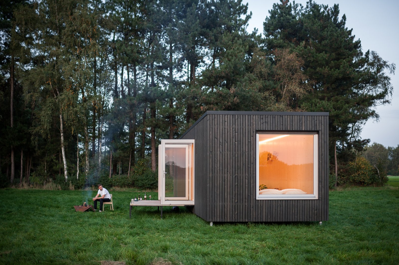 Exterior, Cabin Building Type, Tiny Home Building Type, Flat RoofLine, and Wood Siding Material  Best Photos from These Off-the-Grid Cabins in Belgium Keep Their Locations Secret Until You Book