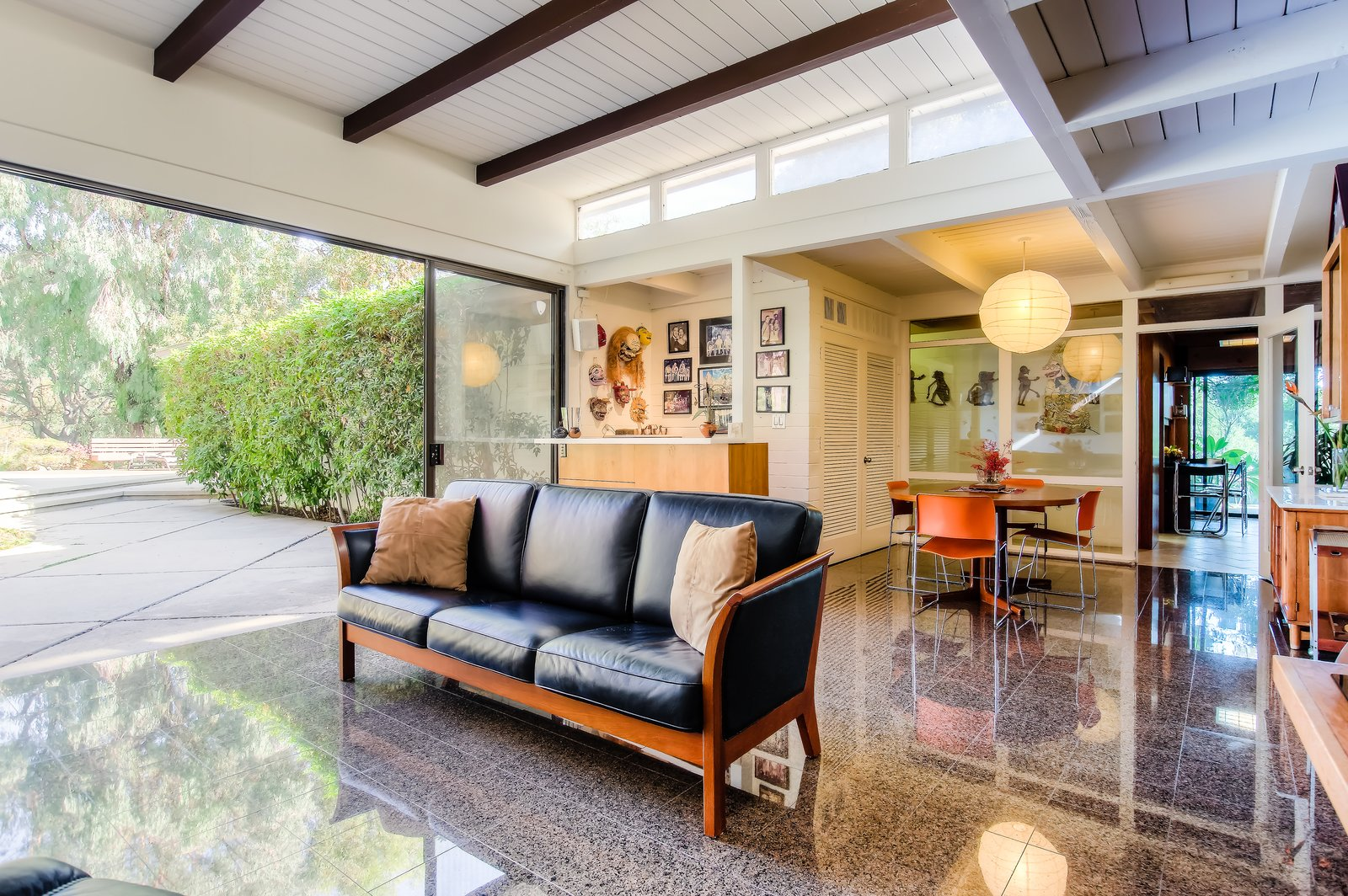 Dining Room, Table, Bar, Pendant Lighting, Chair, and Storage  Photo 6 of 10 in An Exceptional Midcentury by Case Study Architect Pierre Koenig Hits the Market