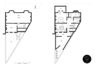 The original and the proposed floor plan
