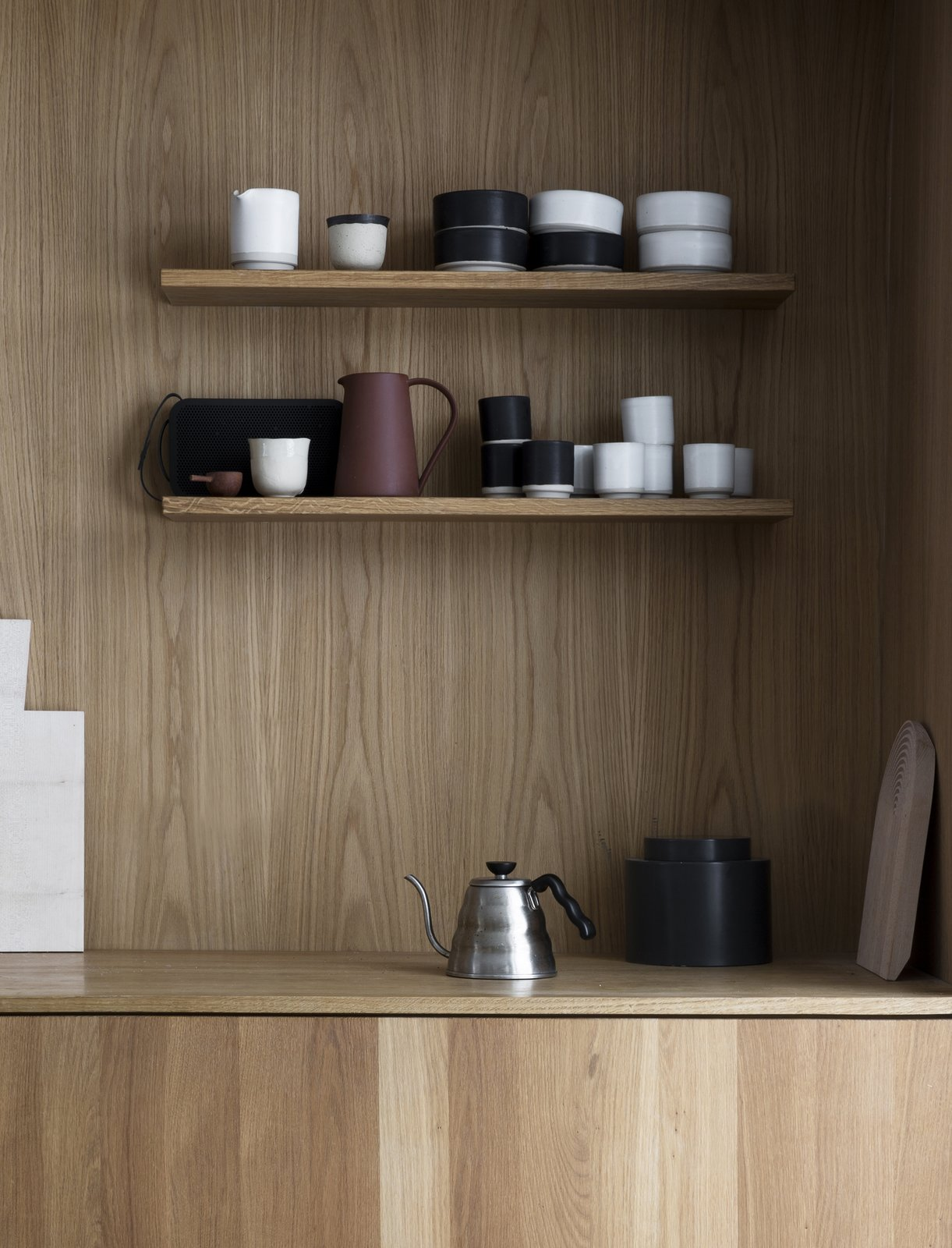 Kitchen, Wood Counter, Wood Cabinet, Wood Backsplashe, and Open Cabinet  Photo 9 of 18 in A Cubic Dwelling in Norway Just Oozes Hygge