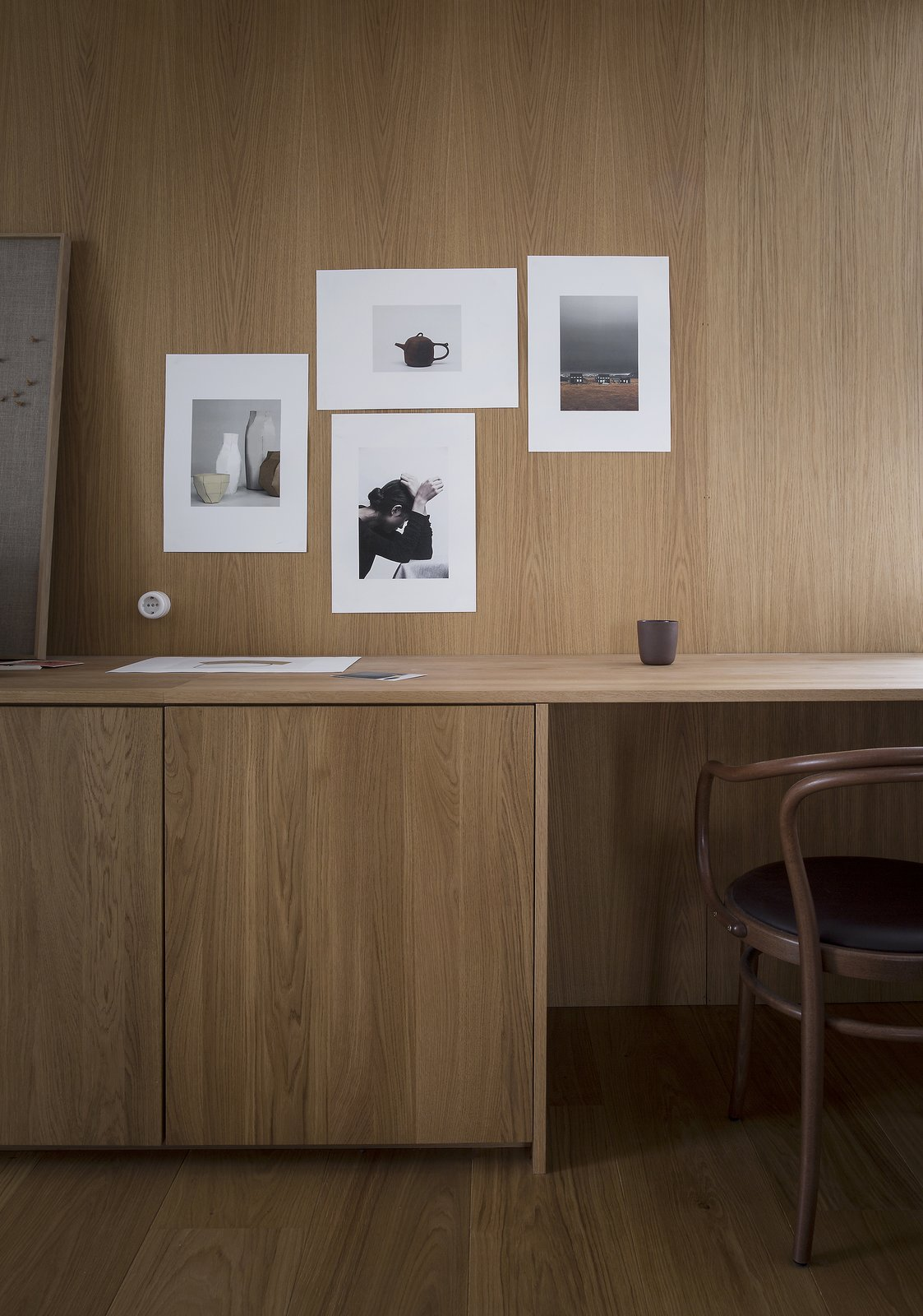 Office, Study Room Type, Chair, Medium Hardwood Floor, and Desk  Photos from A Cubic Dwelling in Norway Just Oozes Hygge