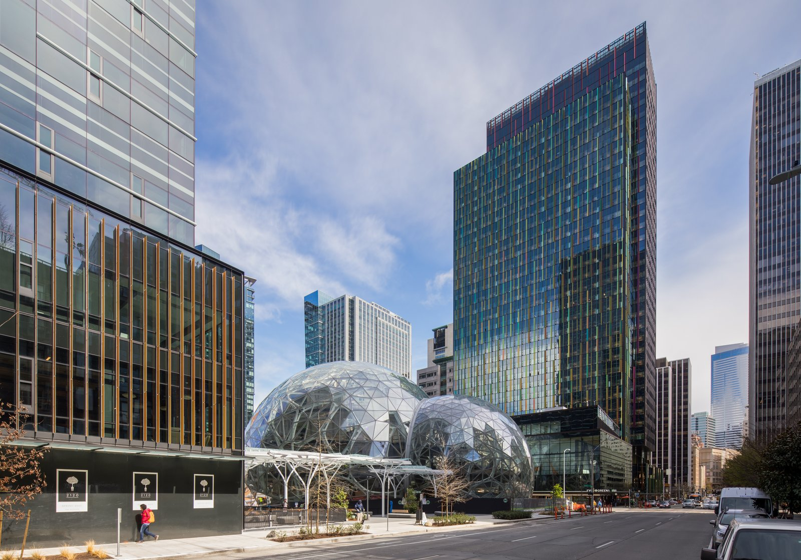 Exterior, Glass Siding Material, and Dome RoofLine Connected via canopy to the second tower of the new Amazon headquarters, the Spheres are an employee amenity that also provides public benefits, such as public access to the entire first floor, street-level retail and parkland — including a public dog run — on the surrounding site.  Photo 2 of 9 in Meet Downtown Seattle's Newest Landmark: The Amazon Spheres