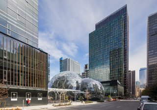 Connected via canopy to the second tower of the new Amazon headquarters, the Spheres also  provide public benefits, such as public access to the entire first floor, street-level retail, and parkland (including a public dog run).
