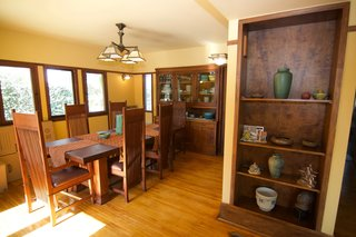 The dining room with period-appropriate light fixtures