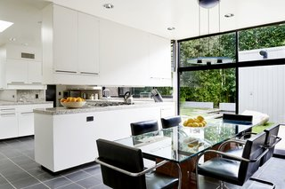 The eat-in kitchen is bright and airy with lots of storage space.