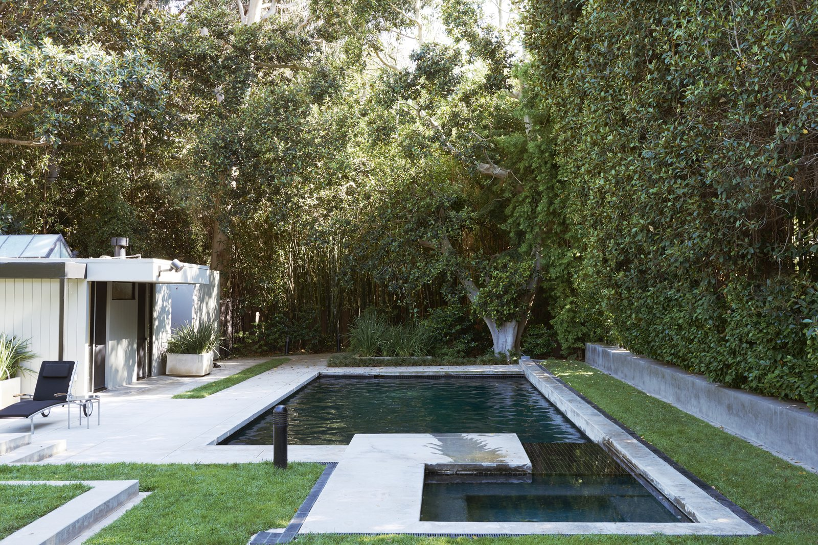 Outdoor, Garden, Back Yard, Hot Tub Pools, Tubs, Shower, Swimming Pools, Tubs, Shower, and Small Patio, Porch, Deck T  Photo 14 of 15 in Jerry Bruckheimer Asks $11.9M For This Gem Designed by Thornton Abell