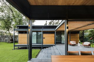 To emphasize outdoor living, the steel-framed platforms are largely open to the elements.