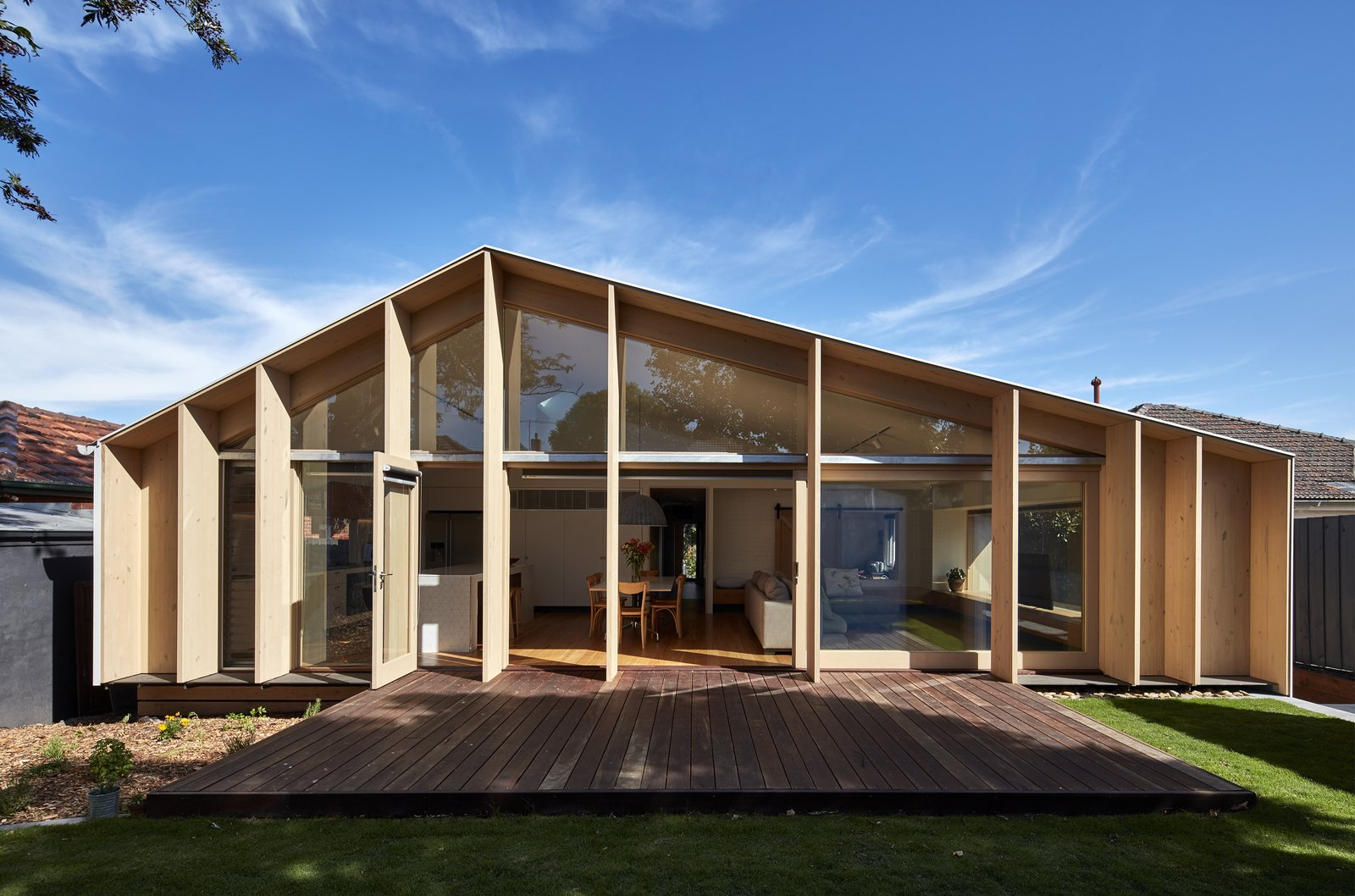 Exterior, Glass Siding Material, Wood Siding Material, House Building Type, and Saltbox RoofLine  Photos from A Contemporary Extension Gives This Australian Home a New Face