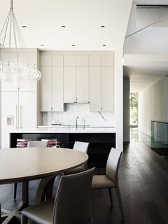 The interior has a strong sense of light and dark from the many sources of natural light.