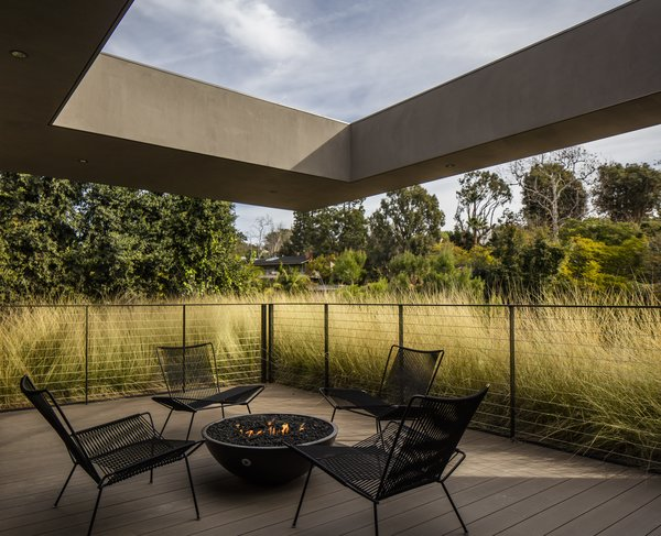 The den opens to a deck, the periphery of which is lined with a living roof.
