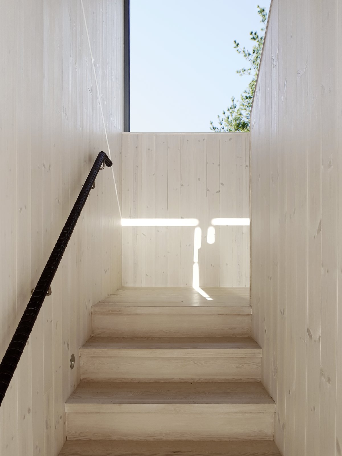 The skylights and light palette give the home a bright an airy feel.
