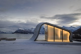 This Concrete Rest Stop Will Make You Want to Visit Norway - Photo 8 of 8 - The smoothness of the poured concrete is strikingly juxtaposed against the rugged terrain.