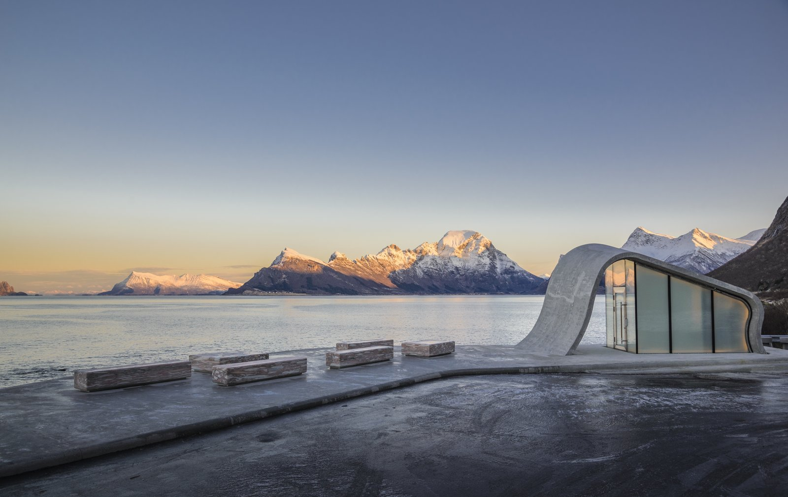 Exterior, Curved, Concrete, and Glass  Exterior Concrete Glass Curved Photos from This Concrete Rest Stop Will Make You Want to Visit Norway