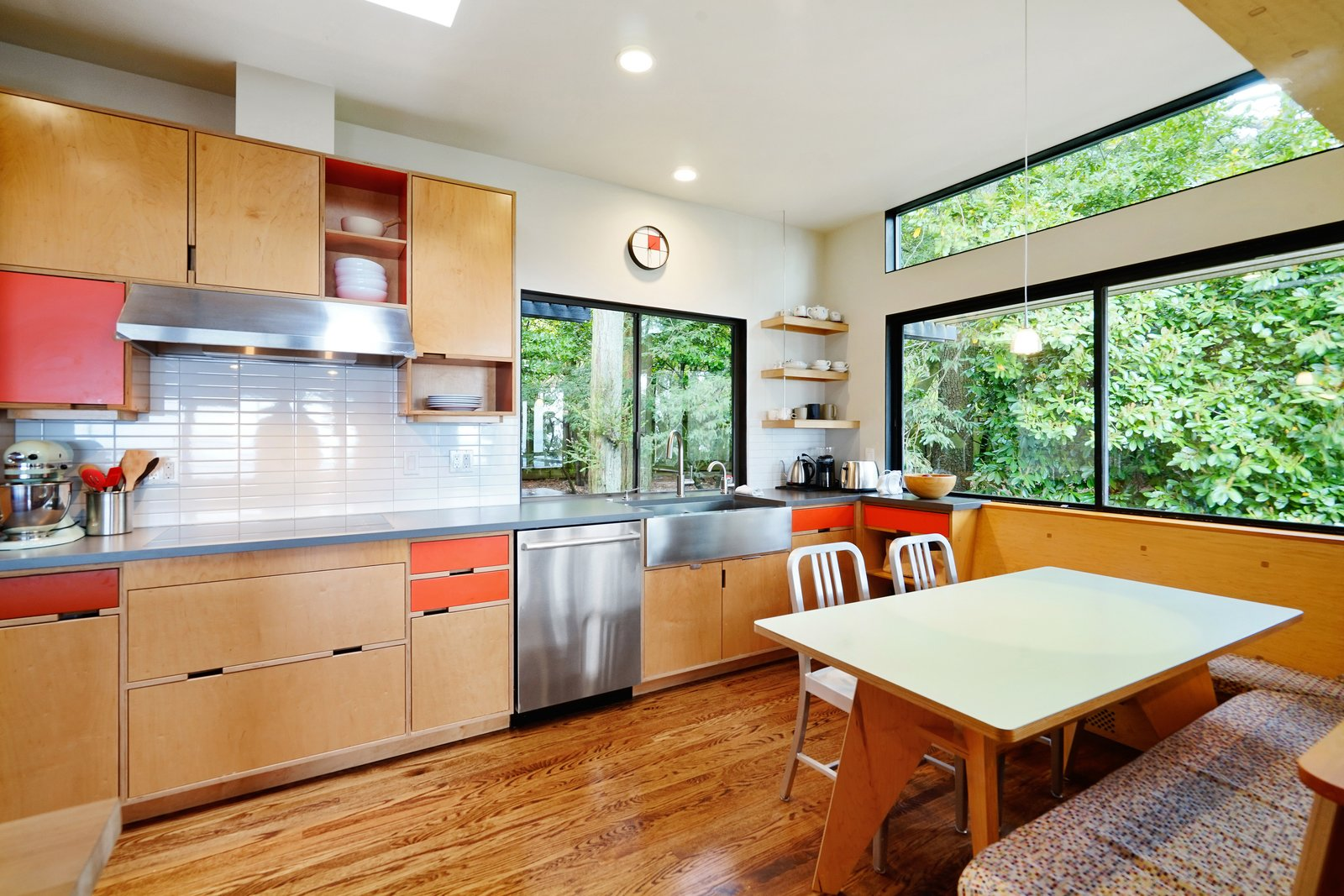 The kitchen also has a strong sense of the outdoors.