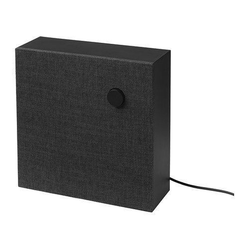 Customers can choose between black or gray polyester fabric on top of the black or white plastic base. The smaller speaker comes with a handle that can be added for portability.