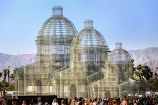 The installation consists of three transparent sculptures inspired by Neoclassical and Baroque architecture, all with identical shapes but different sizes, positioned on an axis and measuring 36, 54, and 72 feet in height, respectively. The transparent wire mesh creates an optical effect composed of perspectives and dimensional relationships.