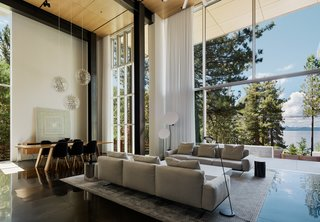 "Faulkner Architects employed a strategic use of concrete, steel, wood, and glass to avoid ""dating"" the property."