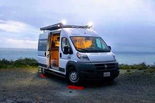 This is Glamper Van's Promaster MUV model with new outside lights.