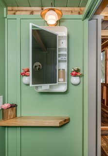 A petite bathroom has been painted a serene shade of green.
