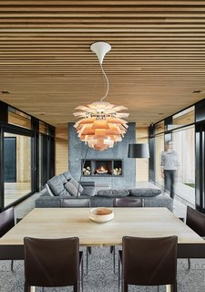 The use of wood softens the industrial feel of the concrete.