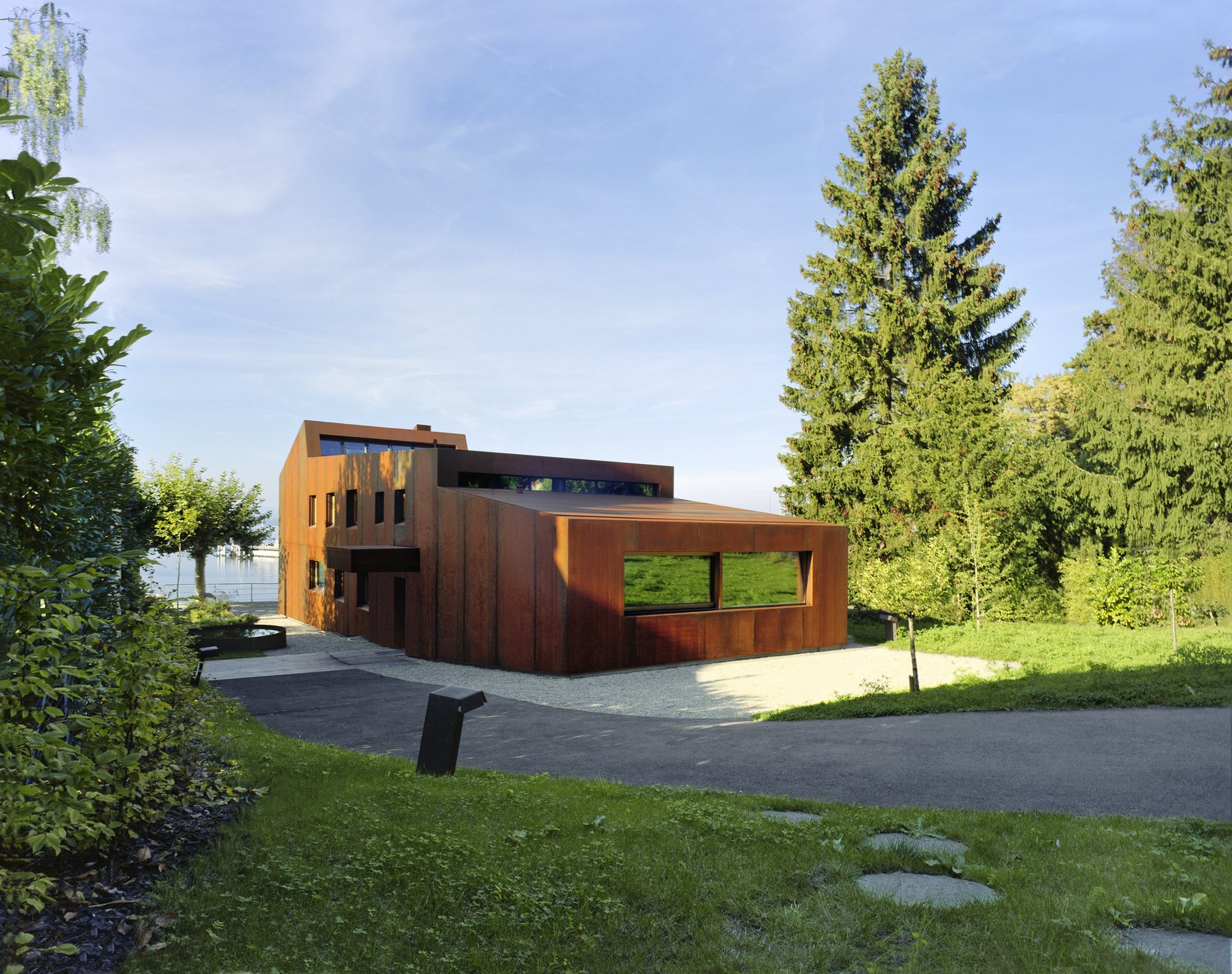 Exterior, Metal Siding Material, House Building Type, and Metal Roof Material  Photo 1 of 13 in A Sculptural Steel Abode on Lake Geneva Is Up For Auction