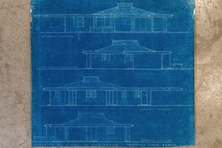 Ted Bower's original blueprints for the exterior of the home.