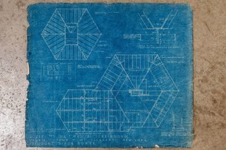 Ted Bower's original blueprints for the home.